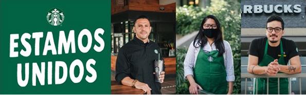 Estamos Unidos text, with three Starbucks employee photos
